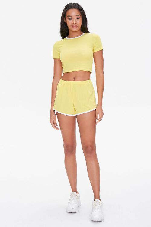 Contrast-Trim Cropped Tee & Shorts Set, image 4