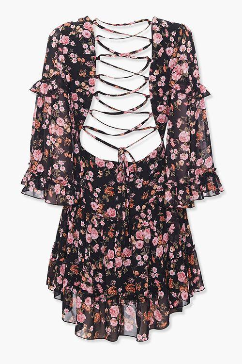 Chiffon Floral Lace-Up Dress, image 3