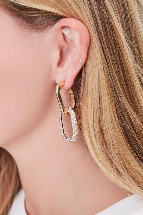 GOLD Rhinestone Linked Hoop Earrings, image 1