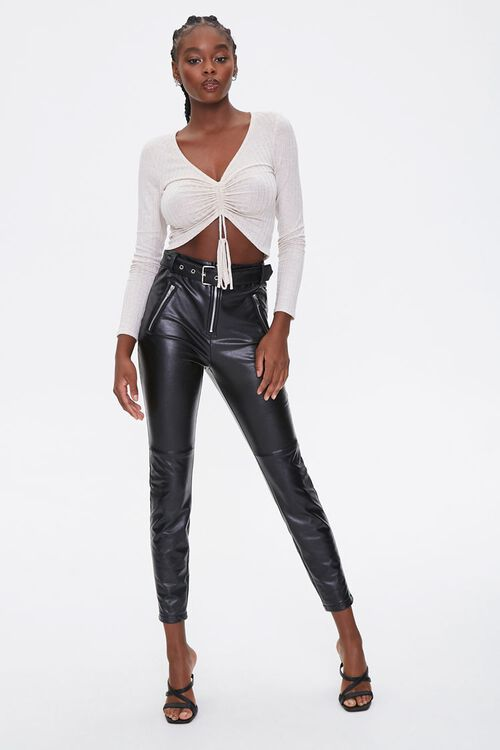 Ruched Rib-Knit Crop Top, image 4