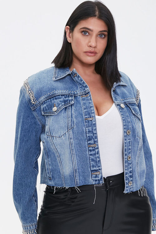 Plus Size Studded Denim Jacket, image 1