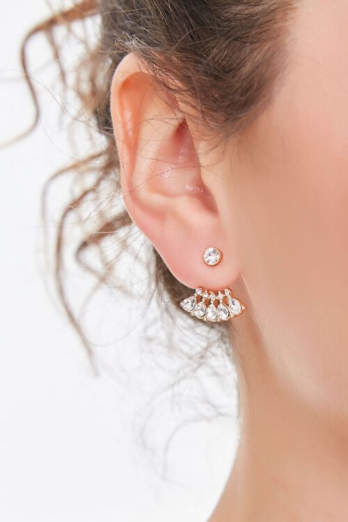 GOLD/CLEAR Faux Crystal Gem Ear Jacket, image 1