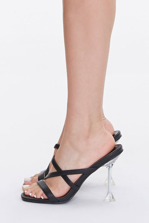 BLACK Strappy Faux Leather Heels, image 2