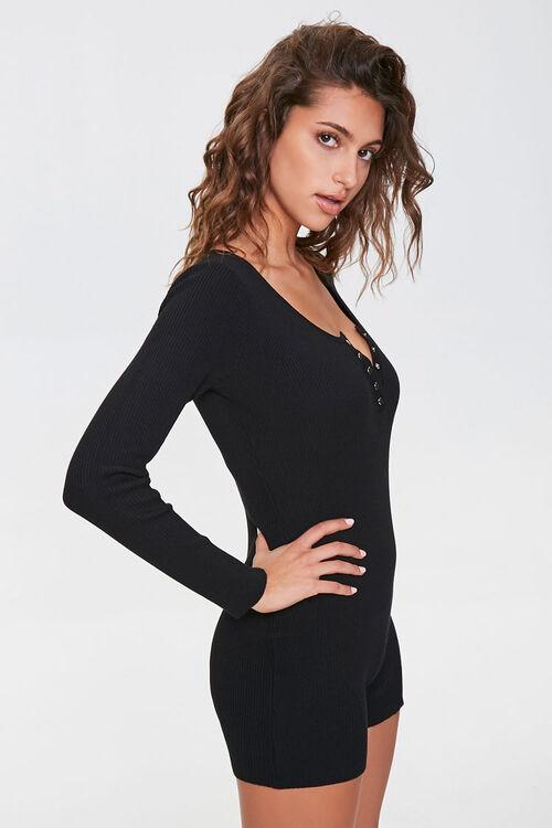 Sweater-Knit Henley Romper, image 1