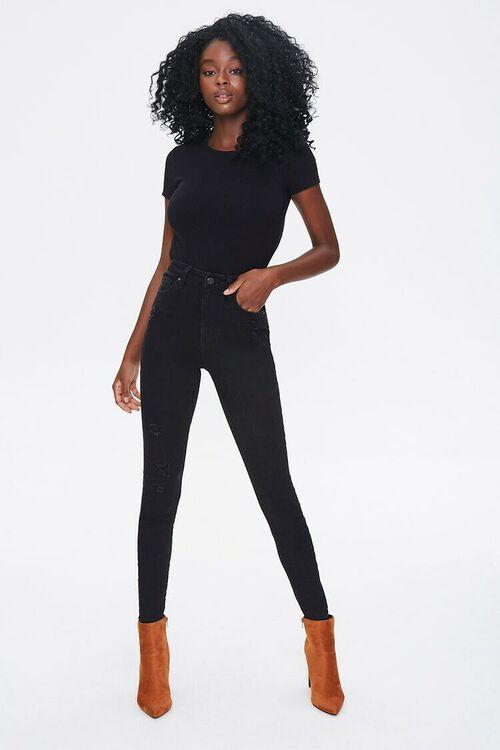 BLACK Cutout Tie-Back Bodysuit, image 5
