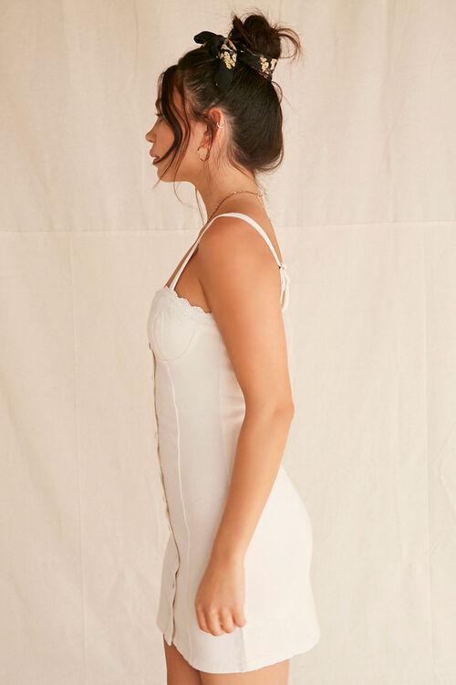 Lace-Trim Buttoned Denim Dress, image 2