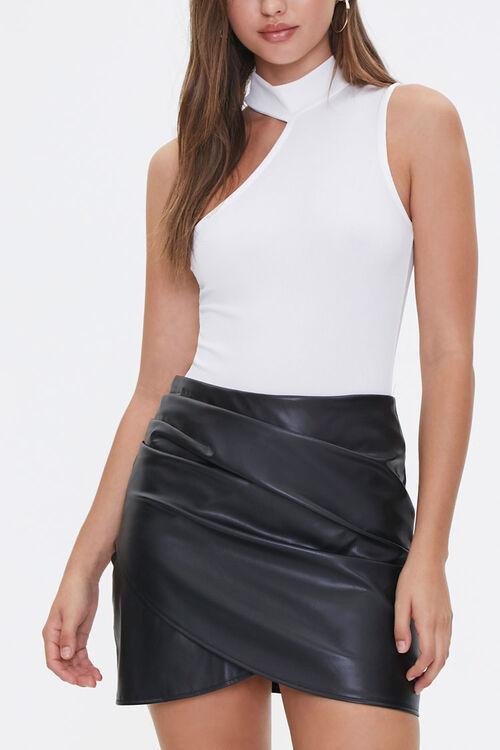 Faux Leather Tulip-Hem Skirt, image 1