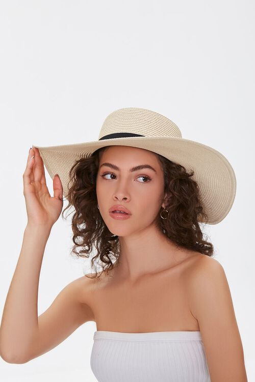 NATURAL/BLACK Faux Straw Floppy Hat, image 1