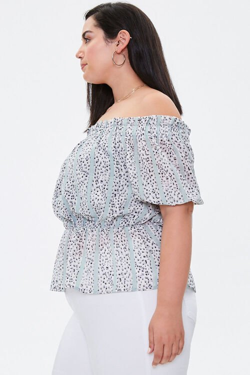 Plus Size Striped Abstract Top, image 2