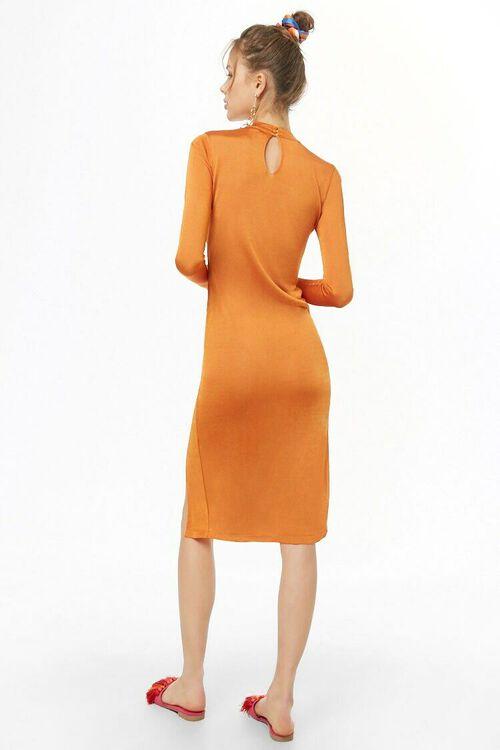 ORANGE Sheer Mock Neck Dress, image 3