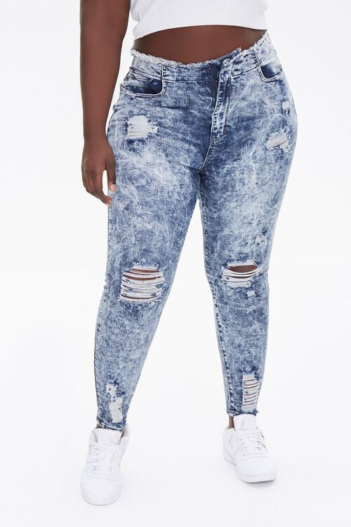 Plus Size Bleached Skinny Jeans, image 2