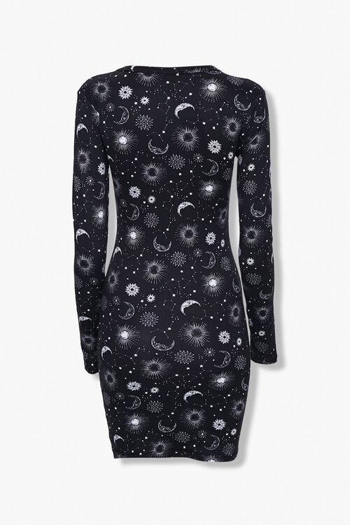 BLACK/WHITE Celestial Print Bodycon Dress, image 3