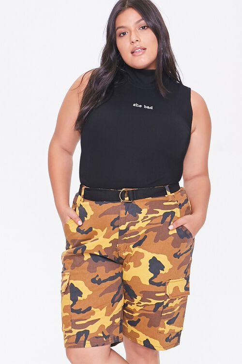 Plus Size Camo Cargo Shorts, image 1