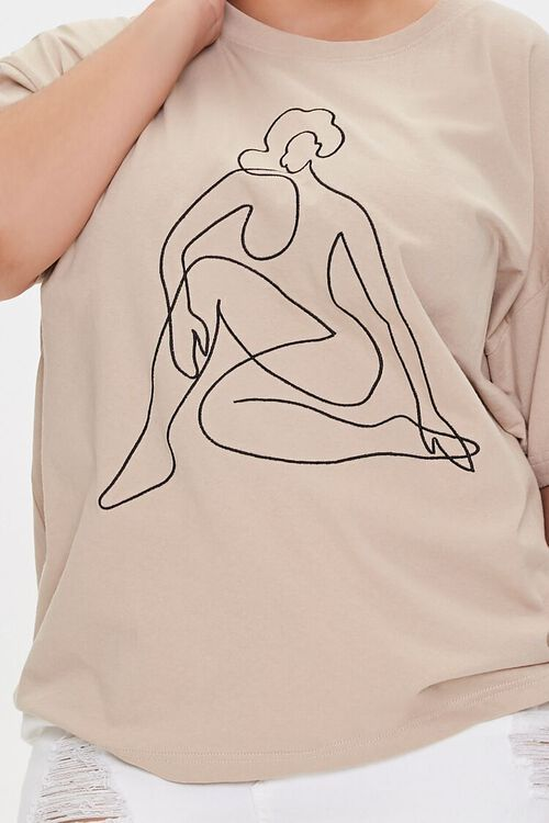 Plus Size Woman Line Art Graphic Tee, image 5