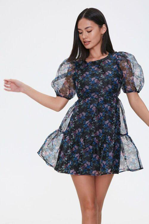 BLACK/PINK Floral Organza Dress, image 1