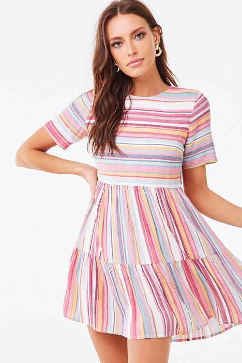 PINK/MULTI Multicolored Striped Tiered Dress, image 1