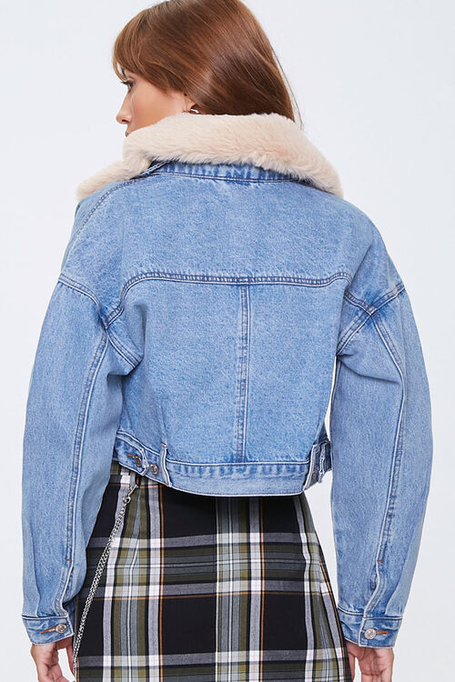 Faux Fur Collar Denim Jacket, image 3