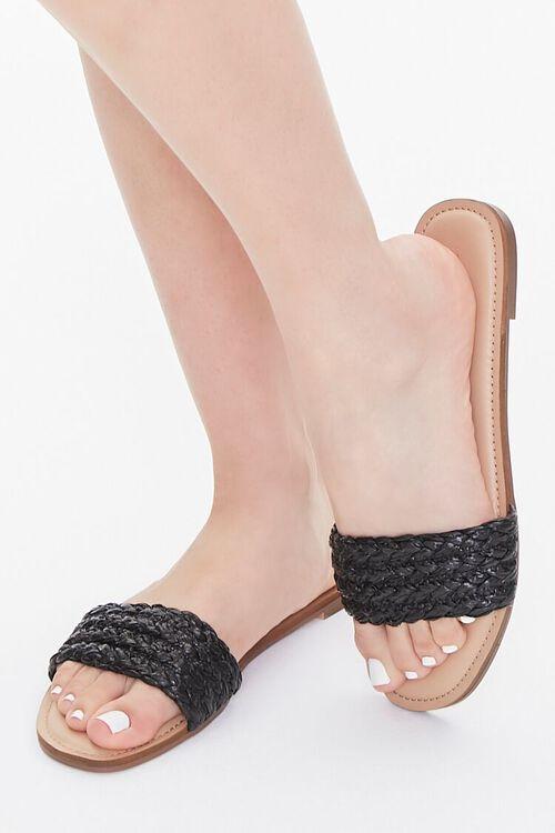 BLACK Braided Flat Sandals, image 1
