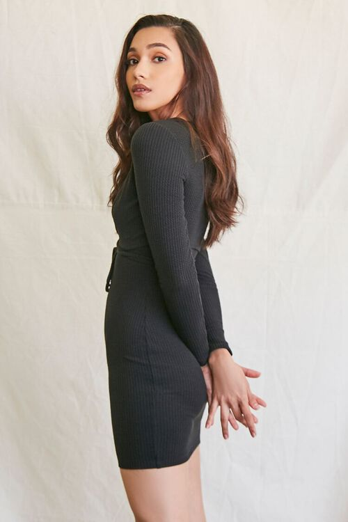 BLACK Ribbed Mini Dress & Crop Top Set, image 2