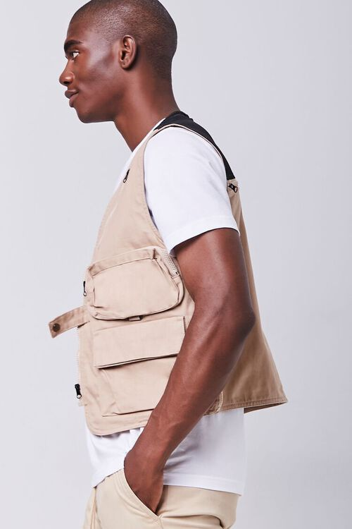 TAUPE Zip-Up Utility Vest, image 2