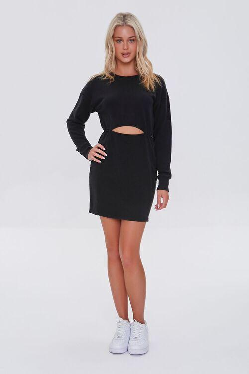 BLACK French Terry Cutout Mini Dress, image 4