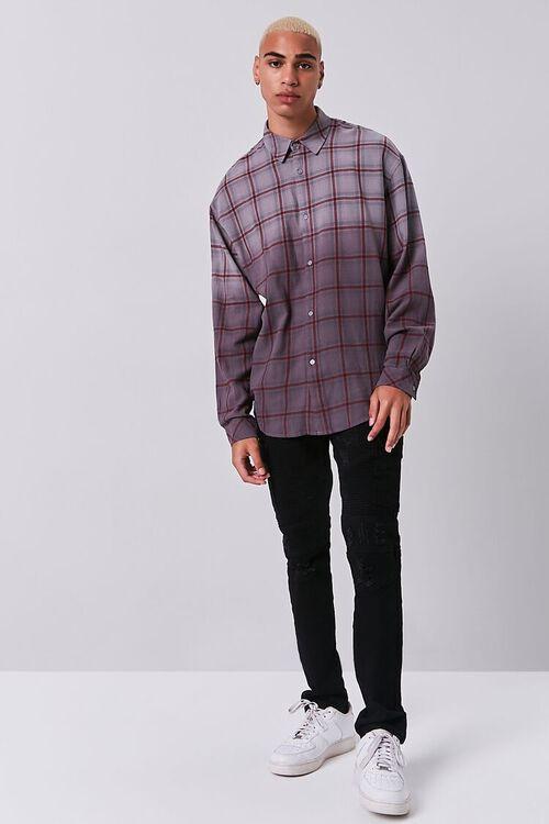 GREY/PLUM Grid Ombre Wash Flannel Shirt, image 4