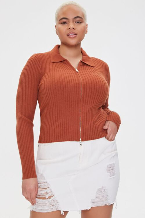 Plus Size Collared Zip-Up Cardigan, image 1