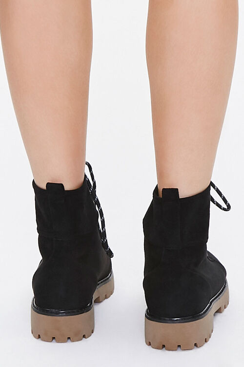 Lace-Up Faux Suede Ankle Booties, image 3