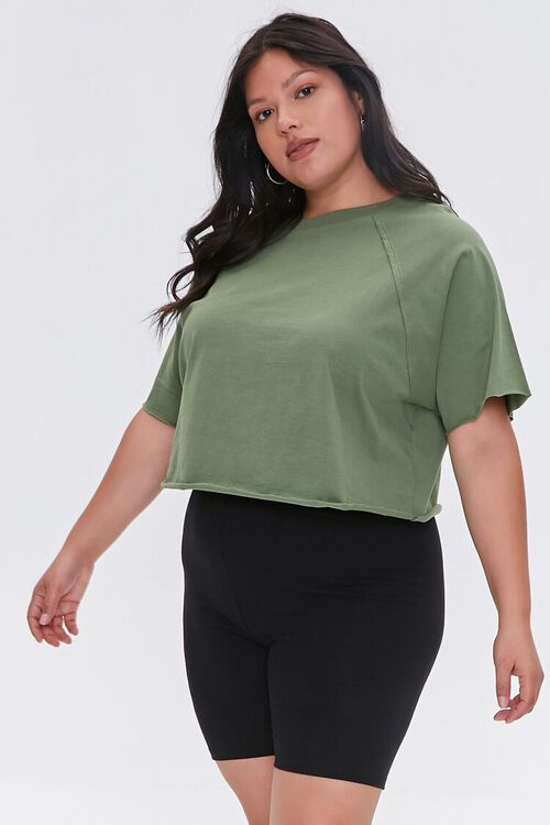OLIVE Plus Size Cropped Tee, image 1