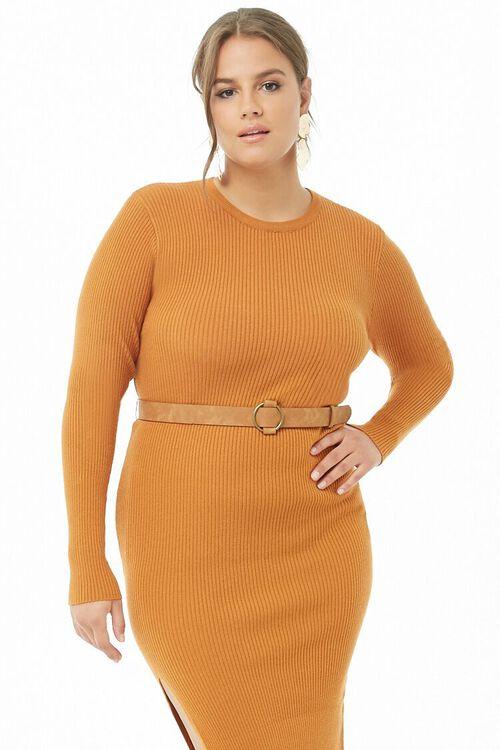 Plus Size Belted Midi Dress, image 4