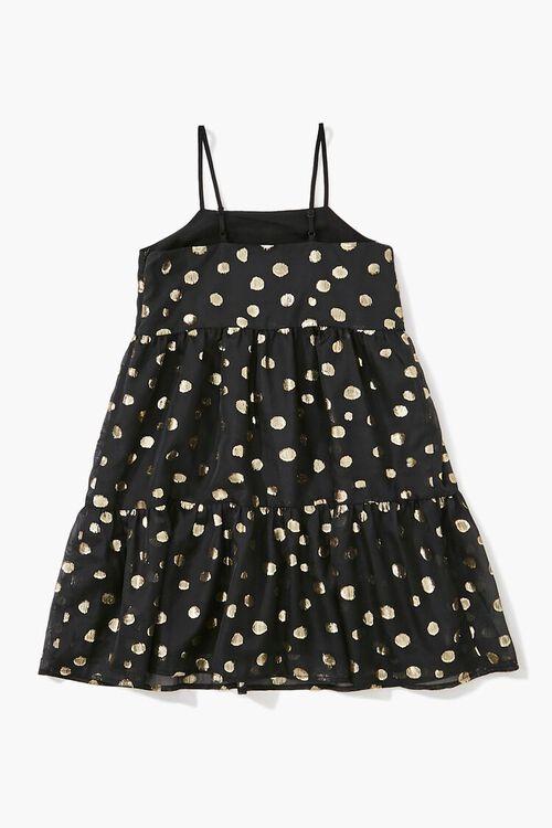 BLACK/GOLD Girls Metallic Polka Dot Dress (Kids), image 2