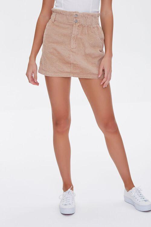 Paperbag Corduroy Mini Skirt, image 2