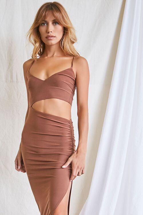MOCHA Ruched Cutout Cami Maxi Dress, image 4