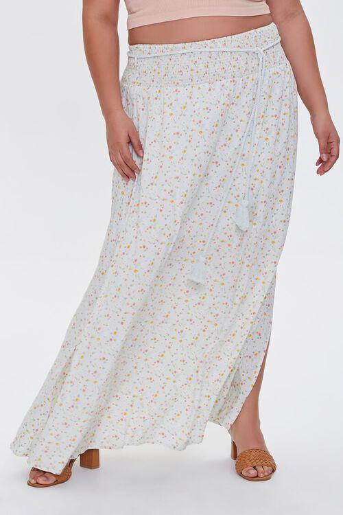 MINT/MULTI Plus Size Floral M-Slit Skirt, image 2