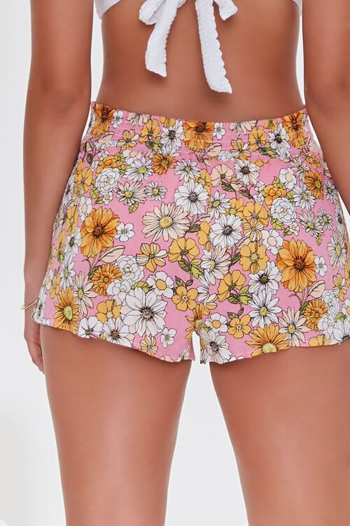PINK/MULTI Floral Print Swim Cover-Up Shorts, image 4