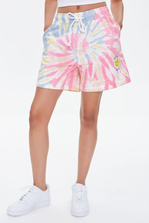 Positive Vibes Graphic Tie-Dye Shorts, image 2