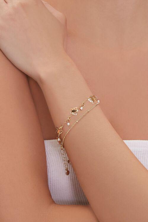 GOLD Upcycled Butterfly Charm Bracelet Set, image 1