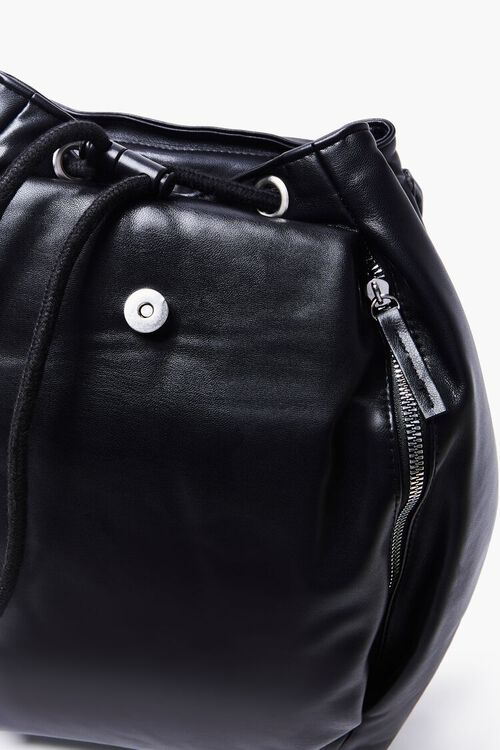BLACK Faux Leather Backpack, image 3