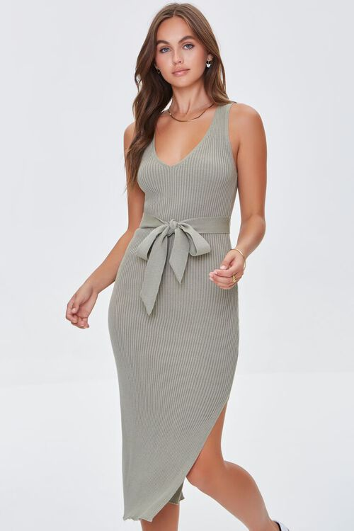 LIGHT OLIVE Belted Ribbed Bodycon Dress, image 1