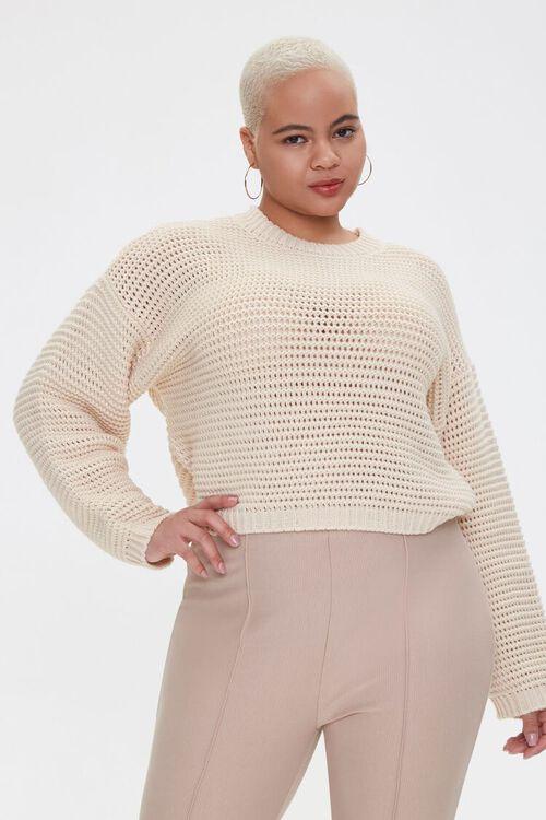 Plus Size Boxy Open-Knit Sweater, image 1