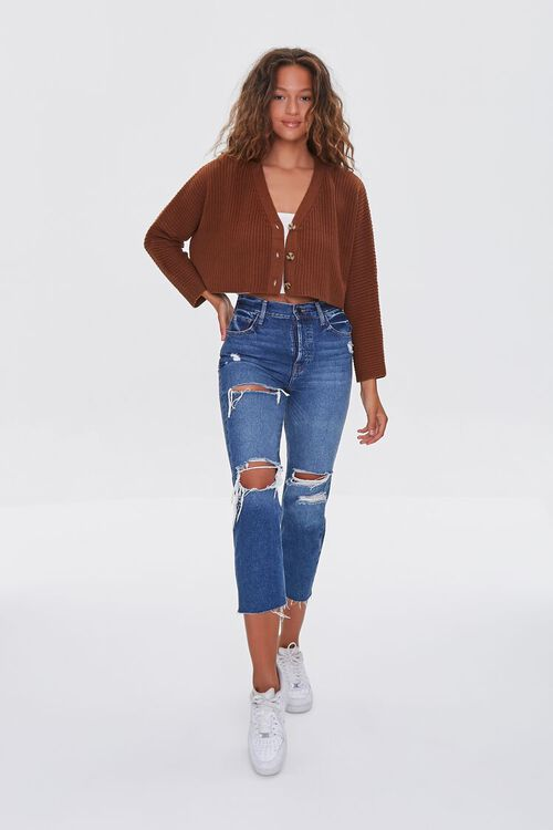 BROWN Ribbed Cropped Cardigan Sweater, image 4
