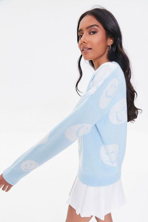 LIGHT BLUE/CREAM Happy Face Graphic Sweater, image 2