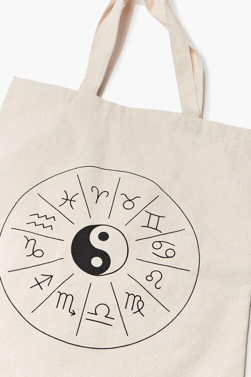 NATURAL/BLACK Zodiac Yin Yang Graphic Tote Bag, image 2