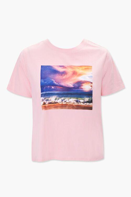BLUSH/MULTI Plus Size Beach Graphic Tee, image 1