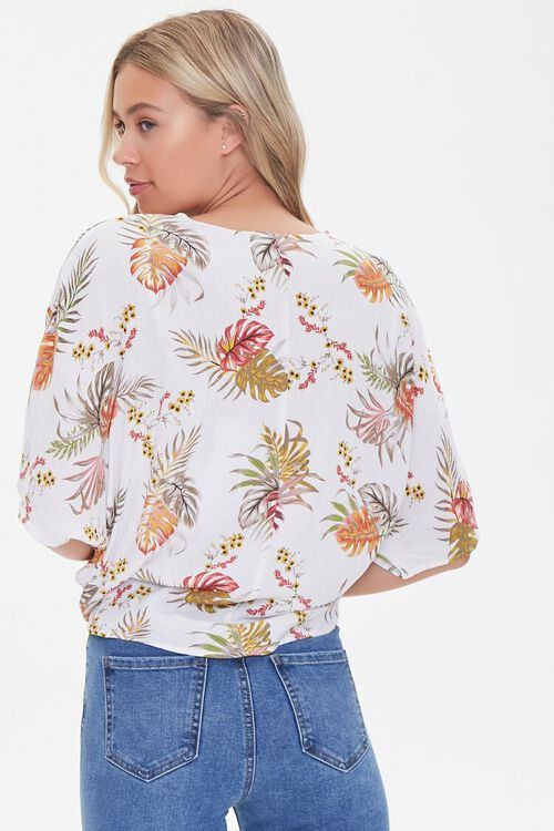 IVORY/MULTI Tropical Print Knotted Dolman Top, image 3