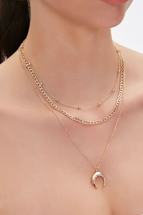 GOLD Horn Pendant Layered Necklace, image 1