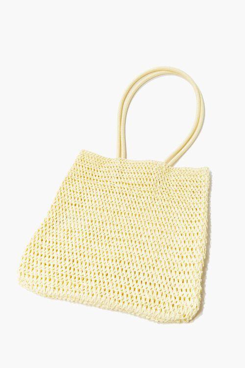 LIGHT YELLOW Basketwoven Tote Bag, image 1
