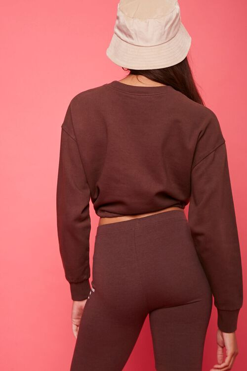 BROWN/WHITE Fleece Juicy Couture Cropped Pullover, image 3
