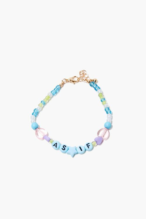 As If Text Charm Beaded Bracelet, image 1
