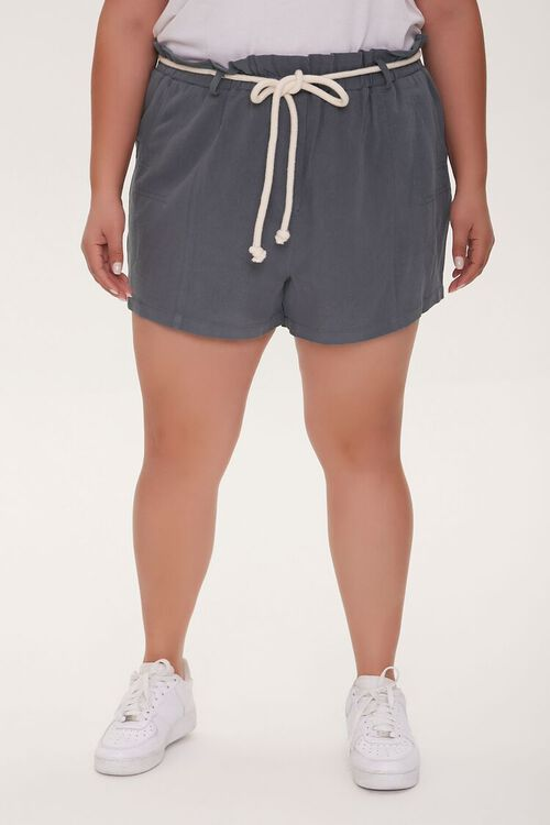 Plus Size Rope Belt Paperbag Shorts, image 2